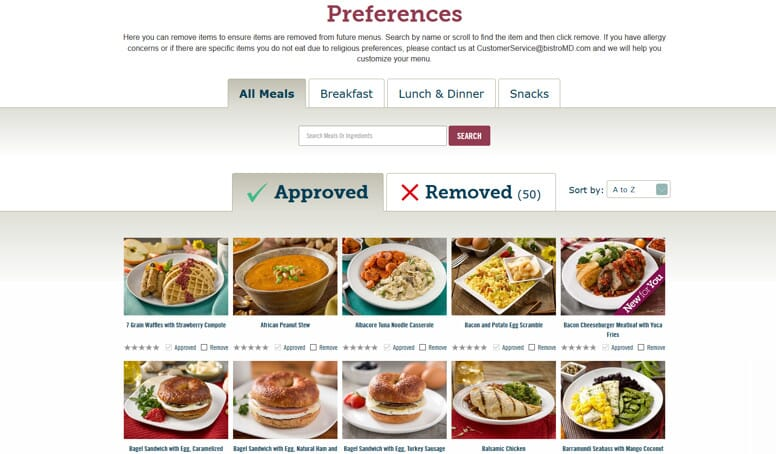 mybistromd meal preferences screen