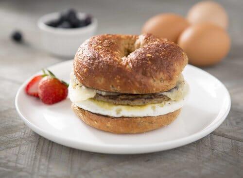Bagel Sandwich with Turkey Sausage and Cheddar