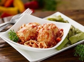 Chicken Meatballs with Marinara and Linguine