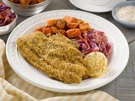 Breaded Catfish with Tartar Sauce and Slaw