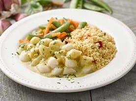 Scallops with Chili Garlic Sauce and Couscous