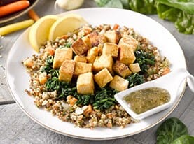 Roasted Tofu and Ancient Grain Salad Bowl