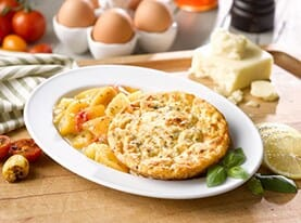 Mozzarella, Roasted Tomato and Basil Frittata