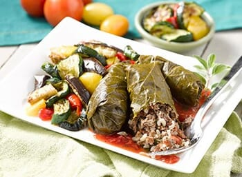 Stuffed Grape Leaves with Tomato Sauce