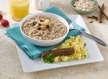 Apple Cinnamon Oatmeal with Scrambled Eggs