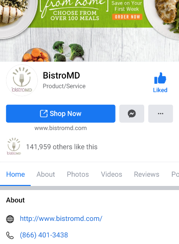 myBistro Facebook Screenshot